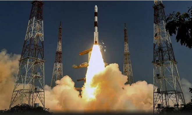A file photo of ISRO's PSLV lifting off from the Satish Dhawan Space Center in Sriharikota. Credit: PTI