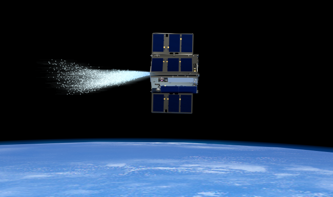 An artist's depiction of one satellite in the pair of cubesats that make up the Optical Communications and Sensor Demonstration mission. (Image credit: NASA)